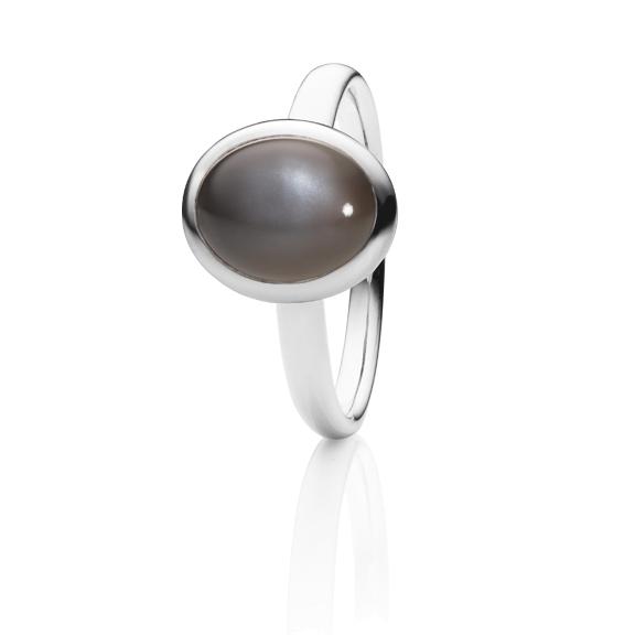 "Ring ""Velluto"" 750WG, Mondstein grau dunkel Cabochon 10.0 x 8.0 mm ca. 2.6ct"