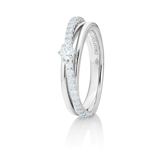 "Ring ""Magnifico"" 750WG,  1 Diamant Brillant-Schliff 0.15ct TW/si, 28 Diamanten Brillant-Schliff 0.39ct TW/si"