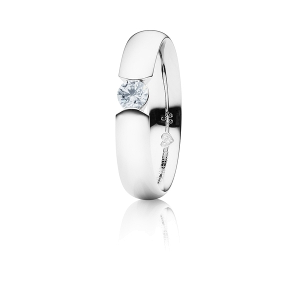 "Ring ""Diamante in Amore"" 750WG Spannoptik, 1 Diamant Brillant-Schliff 0.33ct TW/vs1, GIA Zertifikat, 1 Diamant Brillant-Schliff 0.005ct TW/vs1"