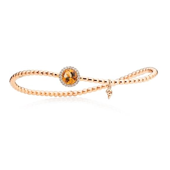 "Armband ""Espressivo"" 750RG, Granat Mandarin facettiert Ø 6.0 mm, 22 Diamanten Brillant-Schliff 0.06ct TW/si, Innenumfang 17.0 cm"
