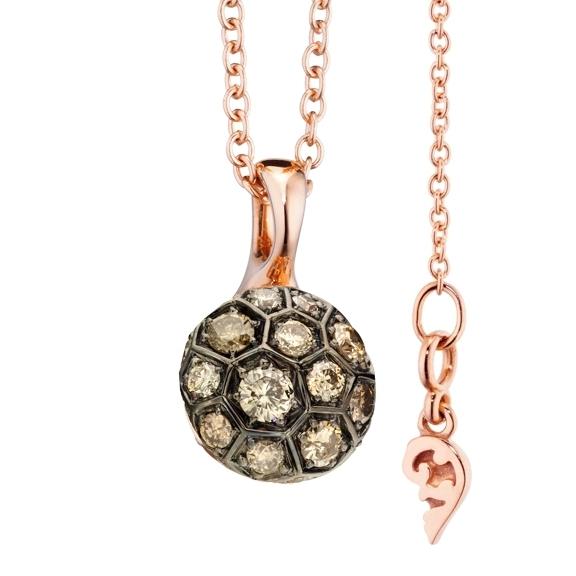 """Anhänger """"Fiore Magico"""" 750RG Carreaufassung schwarz rhodiniert, 23 Diamanten Brillanten-Schliff 0.96ct natural light brown"""