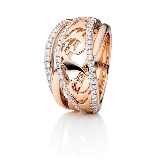 """Ring """"Sérail"""" 750RG, 67 Diamanten Brillant-Schliff 0.63ct TW/vs"""