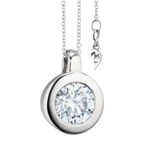 """Collier """"Diamante in Amore"""" 750WG Zargenfassung, Schlaufe, 1 Diamant Brillant-Schliff 1.50ct TW/vs1 GIA Zertifikat, Länge 45.0 cm, Zwischenöse bei 42.0 cm"""