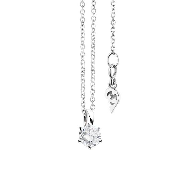 """Collier """"Diamante in Amore"""" 750WG 6-er Krappe, Schlaufe, 1 Diamant Brillant-Schliff 0.25ct TW/vs1, Länge 45.0 cm, Zwischenöse bei 42.0 cm"""