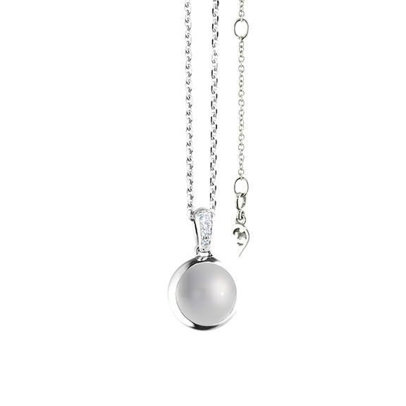 """Anhänger """"Velluto"""" 750WG, Mondstein grau hell Cabochon Ø 8.0 mm ca. 1.7ct, 3 Diamanten Brillant-Schliff 0.02ct TW/vs"""
