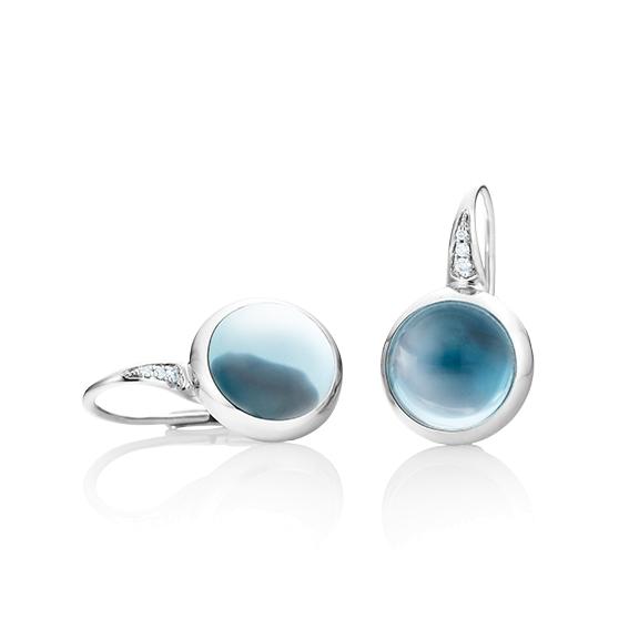 "Ohrhänger ""Velluto"" 750WG, Topas sky blue Cabochon Ø 11.0 mm ca. 12.00ct, 6 Diamanten Brillant-Schliff 0.04ct TW/vs"