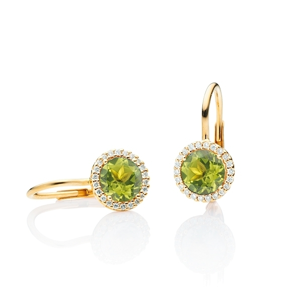 "Ohrhänger ""Espressivo"" 750GG, Peridot facettiert Ø 6.0 mm, 44 Diamanten Brillant-Schliff 0.12ct TW/si"