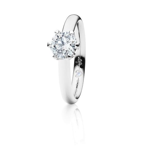 "Ring ""Endless Love"" 750WG 6-er Krappe, 1 Diamant Brillant-Schliff 0.75ct TW/vs1 GIA Zertifikat, 1 Diamant Brillant-Schliff 0.005ct TW/vs1"
