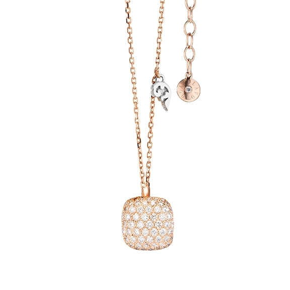 "Collier ""Happy Holi"" 750RG, 102 Diamanten Brillant-Schliff 0.58ct TW/vs1, Länge 42cm + 3cm Verlängerung, 1 Diamant Brillant-Schliff 0.01ct TW/vs1"