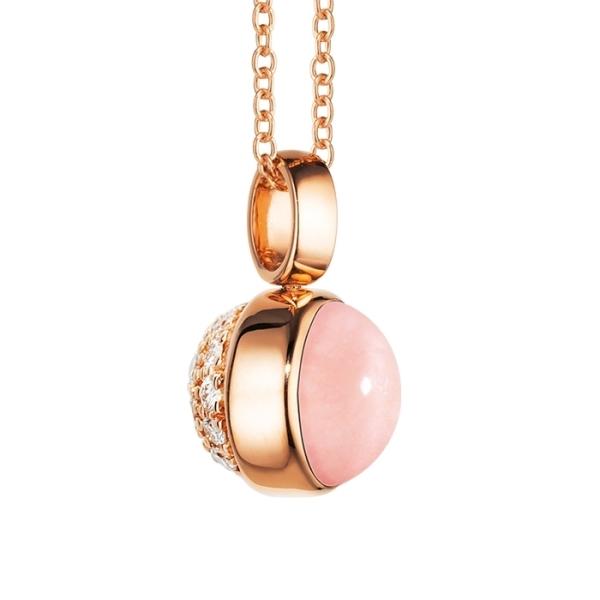 """Anhänger """"Velluto"""" 750RG, Opal pink Ø 8.0 mm ca. 1.80ct, 31 Diamanten Brillant-Schliff 0.25ct TW/vs, Clipschlaufe"""