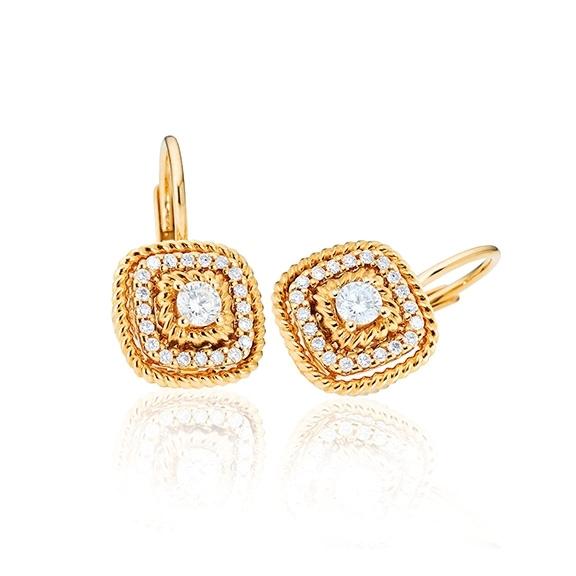 """Ohrhänger """"Amore mio"""" 750GG, 34 Diamanten Brillant-Schliff 0.16ct TW/si"""