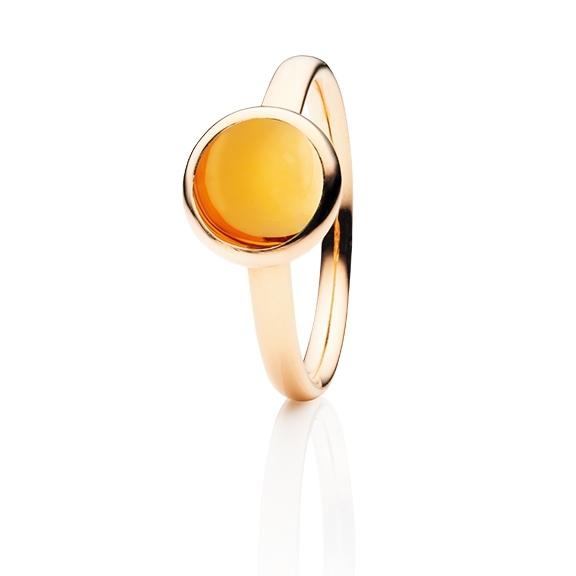 """Ring """"Velluto"""" 750RG, Citrin dunkel Cabochon Ø 8.0 mm ca. 2.0ct"""