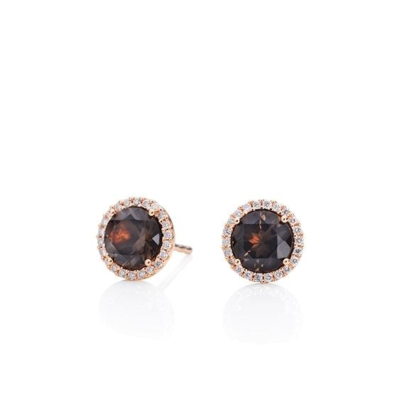 """Ohrstecker """"Espressivo"""" 750RG, Rauchquarz facettiert Ø 6.0 mm, 44 Diamanten Brillant-Schliff 0.12ct TW/si"""