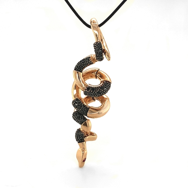 "Snake ""Nina Suess""  750RG, 65 Diamanten Brillant-Schliff  schwarz, 2 Rubine"