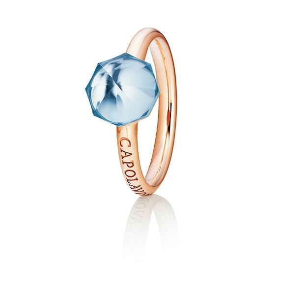 "Ring ""My Sunshine"" 750RG, Topas sky blue Cabochon facettiert  8.90 x 8.90mm ca. 3.60ct, 1 Diamant Brillant-Schliff 0.004ct TW/vs1"