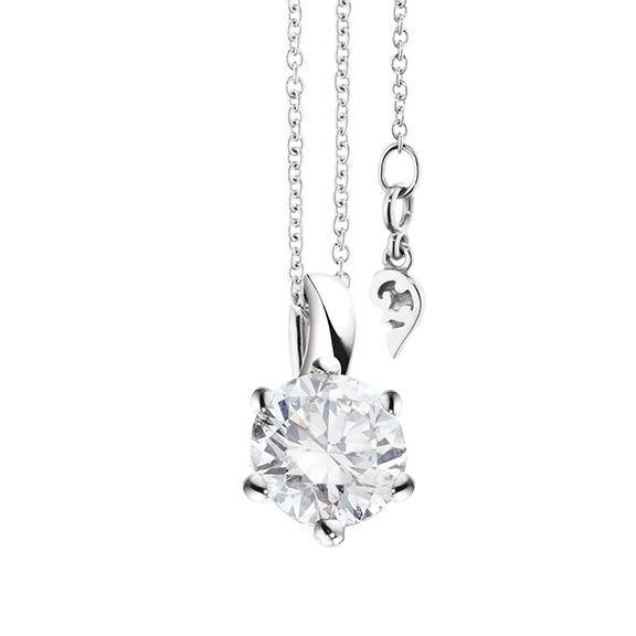"""Collier """"Diamante in Amore"""" 750WG 6-er Krappe, Schlaufe, 1 Diamant Brillant-Schliff 1.00ct TW/vs1 GIA Zertifikat, Länge 45.0 cm, Zwischenöse bei 42.0 cm"""