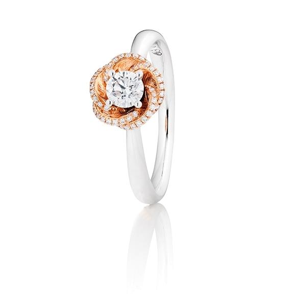 "Ring ""Rose Dream"" 750WG/RG Krappenfassung 1 Diamant Brillant-Schliff 0.33ct TW/vs1 GIA Zertifikat, 75 Diamanten Brillant-Schliff 0.11ct TW/vs1"