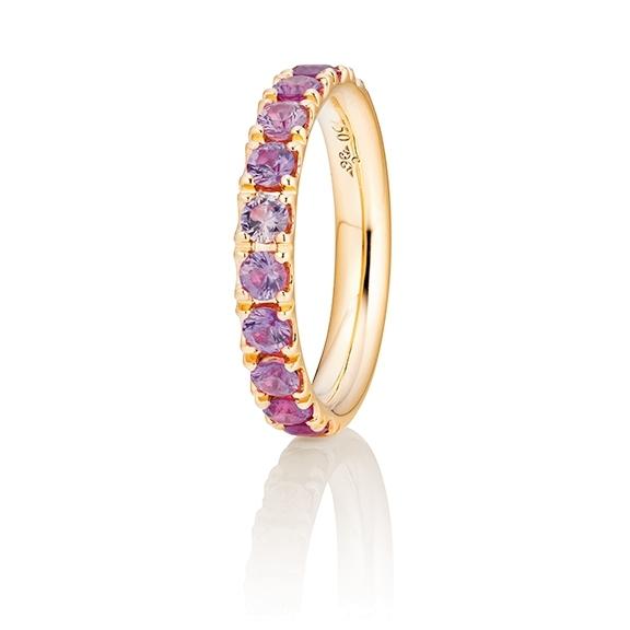 "Ring ""Rainbow"" 750GG, 11 Saphire pink facettiert ca. 1.50ct"