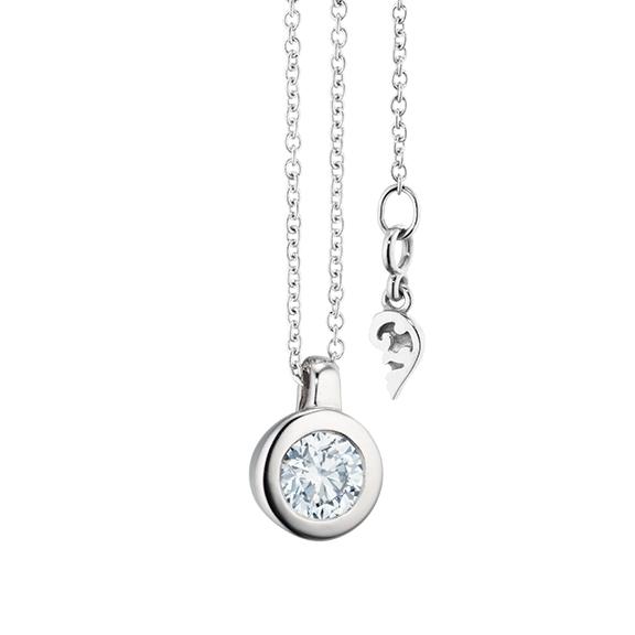 """Collier """"Diamante in Amore"""" 750WG Zargenfassung, Schlaufe, 1 Diamant Brillant-Schliff 0.40ct TW/vs1, Länge 45.0 cm, Zwischenöse bei 42.0 cm"""