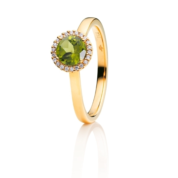 "Ring ""Espressivo"" 750GG, Peridot facettiert Ø 6.0 mm, 22 Diamanten Brillant-Schliff 0.06ct TW/si"