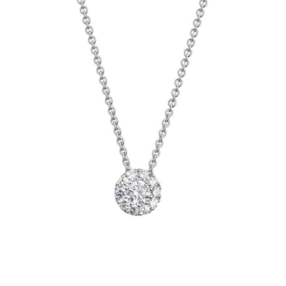 "Anhänger ""Brillantissimo"" 750WG, 1 Diamant Brillant-Schliff 0.10ct TW/vs, 10 Diamanten Brillant-Schliff 0.06ct TW/vs"
