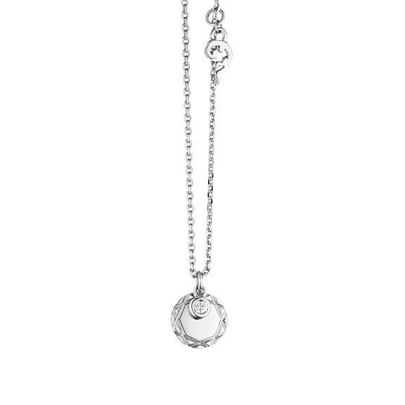 """Collier """"Poesia"""" 750WG, mit einem personalisierbaren runden Tag und einem beweglichen Diamant in Zargenfassung 0.025TW/vs1, Ankerkette Ø 1.3 mm, Länge 41.0 cm, Zwischenöse bei 38.0 cm"""