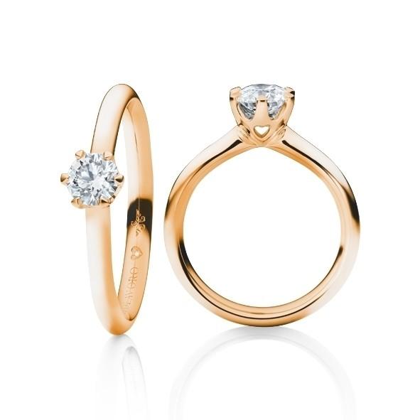 """Ring """"Diamante in Amore"""" 750RG 6-er Krappe, 1 Diamant Brillant-Schliff 0.33ct TW/vs1, GIA Zertifikat, 1 Diamant Brillant-Schliff 0.005ct TW/vs1"""