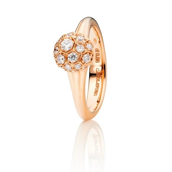 """Ring """"Fiore Magico"""" 750RG Carreaufassung, 22 Diamanten Brillant-Schliff 0.55ct TW/vs"""