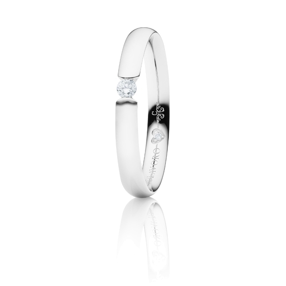 "Ring ""Diamante in Amore"" 750WG Spannoptik, 1 Diamant Brillant-Schliff 0.10ct TW/vs1, 1 Diamant Brillant-Schliff 0.005ct TW/vs1"