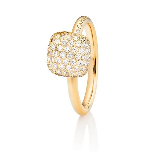 "Ring ""Happy Holi"" 750GG, 102 Diamanten Brillant-Schliff 0.58ct TW/vs1, 1 Diamant Brillant-Schliff 0.004ct TW/vs1"