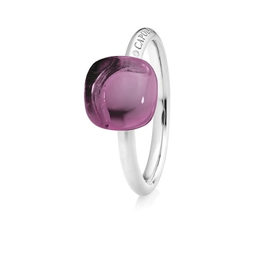 "Ring ""Happy Holi"" 750WG, Amethyst medium Cabochon  9.0 x 9.0 mm ca. 3.80ct, 1 Diamant Brillant-Schliff 0.004ct TW/vs1"