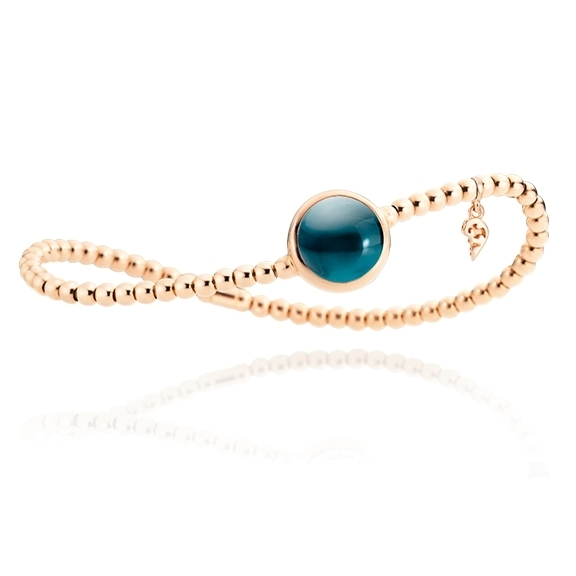 "Armband ""Velluto"" 750RG, Topas London blue Cabochon Ø 11.0 mm ca. 6.0ct, Innenumfang 17.0 cm"
