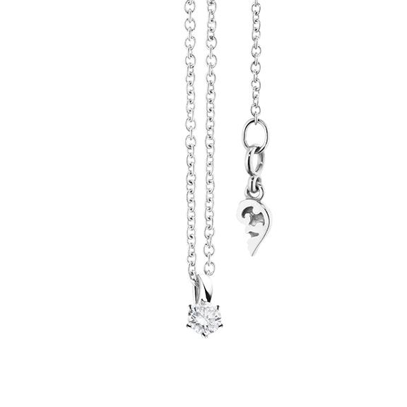 """Collier """"Diamante in Amore"""" 750WG 6-er Krappe, Schlaufe, 1 Diamant Brillant-Schliff 0.10ct TW/vs1, Länge 45.0 cm, Zwischenöse bei 42.0 cm"""