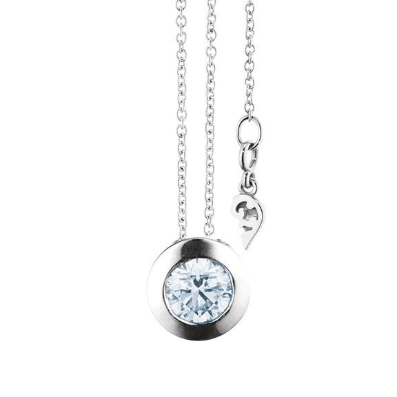 """Collier """"Diamante in Amore"""" 750WG Zargenfassun, 1 Diamant Brillant-Schliff 0.60ct TW/vs1 GIA Zertifikat, Länge 45.0 cm, Zwischenöse bei 42.0 cm"""