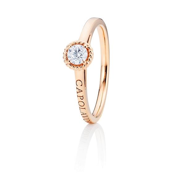 """Ring """"Amore Mio"""" 750RG, 1 Diamant Brillant-Schliff 0.25ct TW/si, 1 Diamant Brillant-Schliff 0.005ct TW/vs1"""