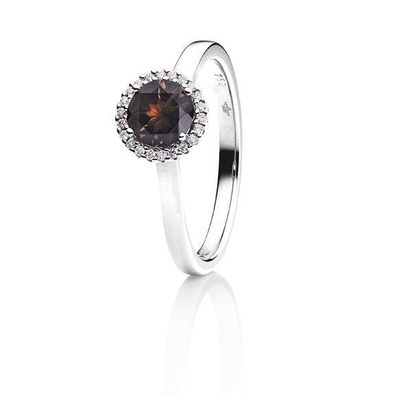 "Ring ""Espressivo"" 750WG, Rauchquarz facettiert Ø 6.0 mm, 22 Diamanten Brillant-Schliff 0.06ct TW/si"