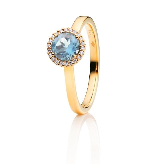 "Ring ""Espressivo"" 750GG, Topas sky blue facettiert Ø 6.0 mm ca. 0.90ct, 22 Diamanten Brillant-Schliff 0.06ct TW/si1"