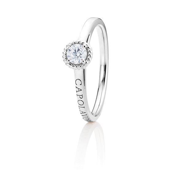 """Ring """"Amore Mio"""" 750WG, 1 Diamant Brillant-Schliff 0.25ct TW/si, 1 Diamant Brillant-Schliff 0.005ct TW/vs1"""
