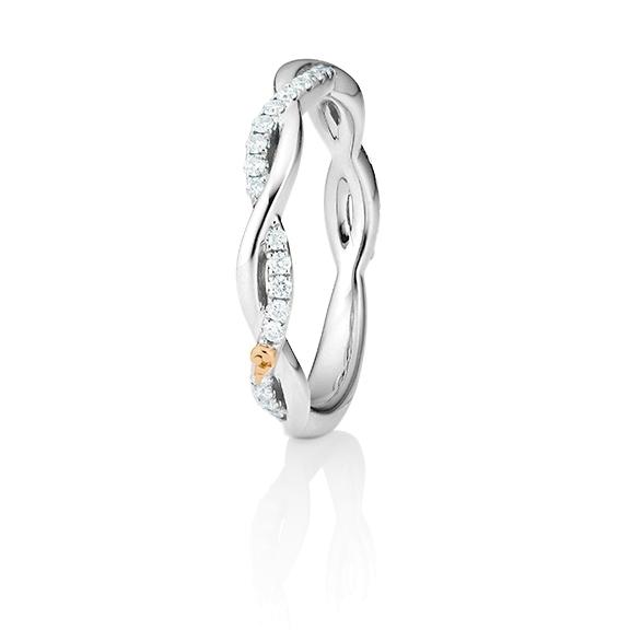 """Ring """"Romantic"""" 750WG, 33 Diamanten Brillant-Schliff 0.20ct TW/vs1"""