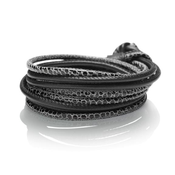 Amrband Kalbsleder schwarz Ø 3mm, 45 cm 4-reihig