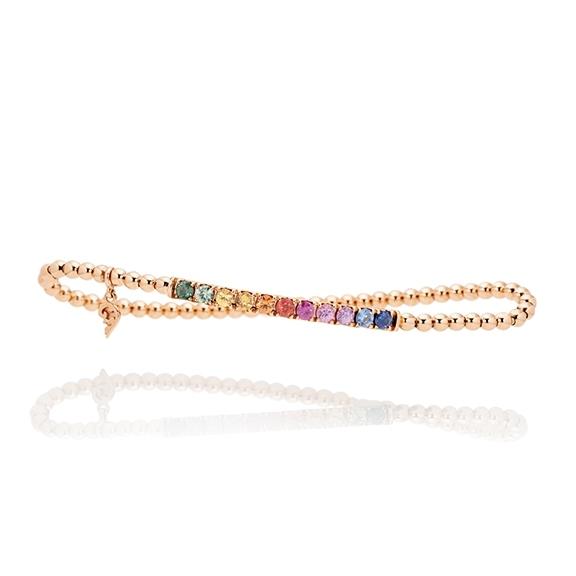 "Armband ""Rainbow"" 750RG, 11 Saphire bunt ca 1.50ct, Innenumfang 17.0 cm"