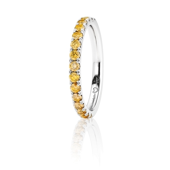 "Memoirering ""Diamante in Amore"" 750WG, 15 Diamanten Brillant-Schliff 0.58ct gold behandelt, 1 Diamant Brillant-Schliff 0.005ct TW/vs1"