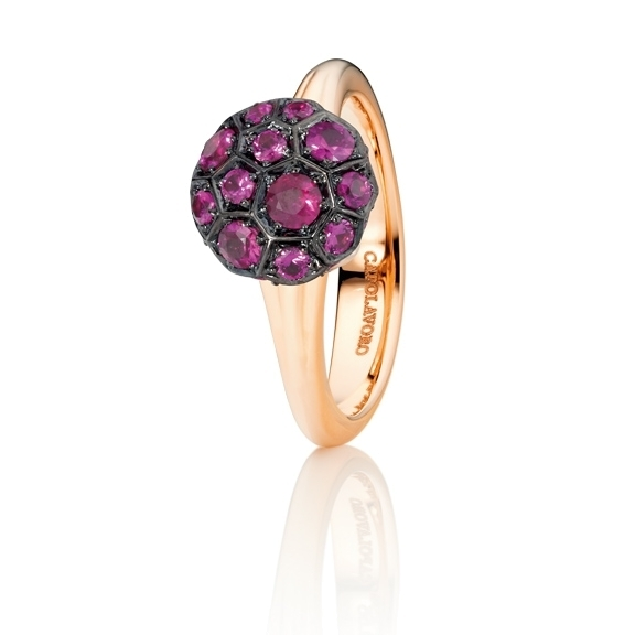 "Ring ""Fiore Magico"" 750RG Carreaufassung, Saphir pink facettiert ca. 1.20ct"