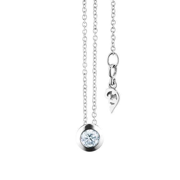 """Collier """"Diamante in Amore"""" 750WG Zargenfassung, 1 Diamant Brillant-Schliff 0.20ct TW/vs1, Länge 45.0 cm, Zwischenöse bei 42.0 cm"""
