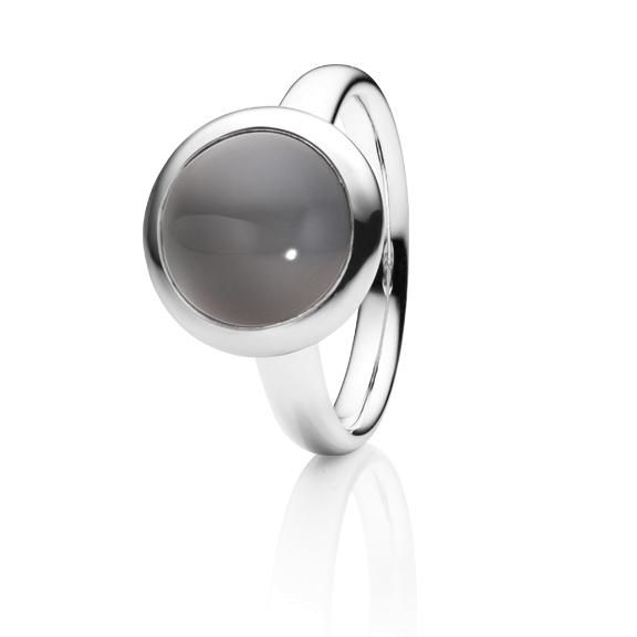 """Ring """"Velluto"""" 750WG, Mondstein grau dunkel Cabochon Ø 11.0 mm ca. 4.5ct"""