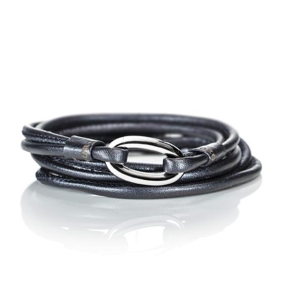 Armband Kalbsleder schwarz 2-reihig, Ø 3.0 mm, 56.0 cm
