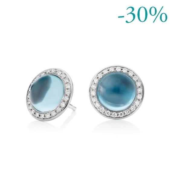 "Ohrstecker ""Lucido"" 750WG, Topas sky blue Cabochon ca. 5.50ct, 44 Brillanten Diamant-Schliff 0.32ct TW/vs"