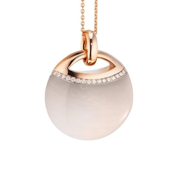 """Anhänger """"Serenade"""" 750RG, Mondstein champagne Cabochon ca. 30.0ct, 17 Diamanten Brillant-Schliff 0.11ct TW/vs"""