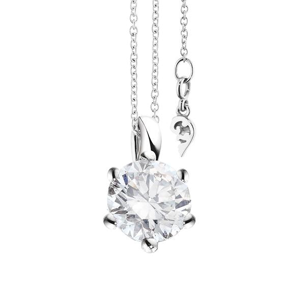 """Collier """"Diamante in Amore"""" 750WG 6-er Krappe, Schlaufe, 1 Diamant Brillant-Schliff 1.50ct TW/vs1 GIA Zertifikat, Länge 45.0 cm, Zwischenöse bei 42.0 cm"""