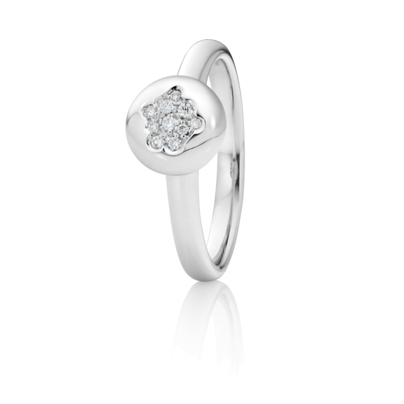"Ring ""Dolcini"" 750WG, 10 Diamanten Brillant-Schliff 0.06ct TW/vs"